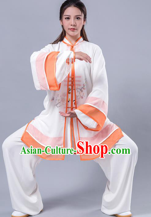 Top Grade Chinese Kung Fu Costume Martial Arts Printing Wintersweet Orange Uniform, China Tai Ji Wushu Plated Buttons Clothing for Women