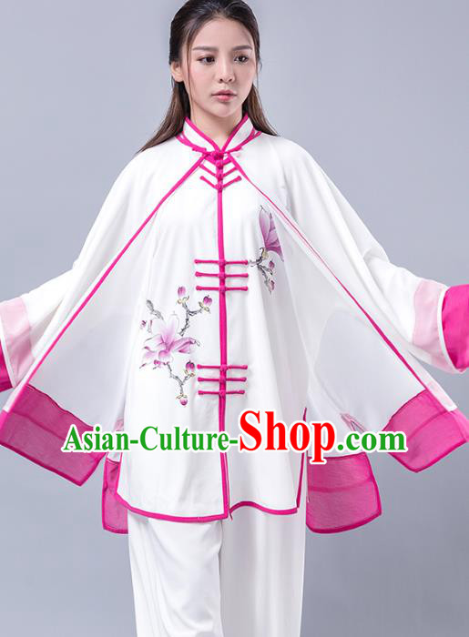 Top Grade Chinese Kung Fu Costume Martial Arts Printing Magnolia Rosy Uniform, China Tai Ji Wushu Plated Buttons Clothing for Women