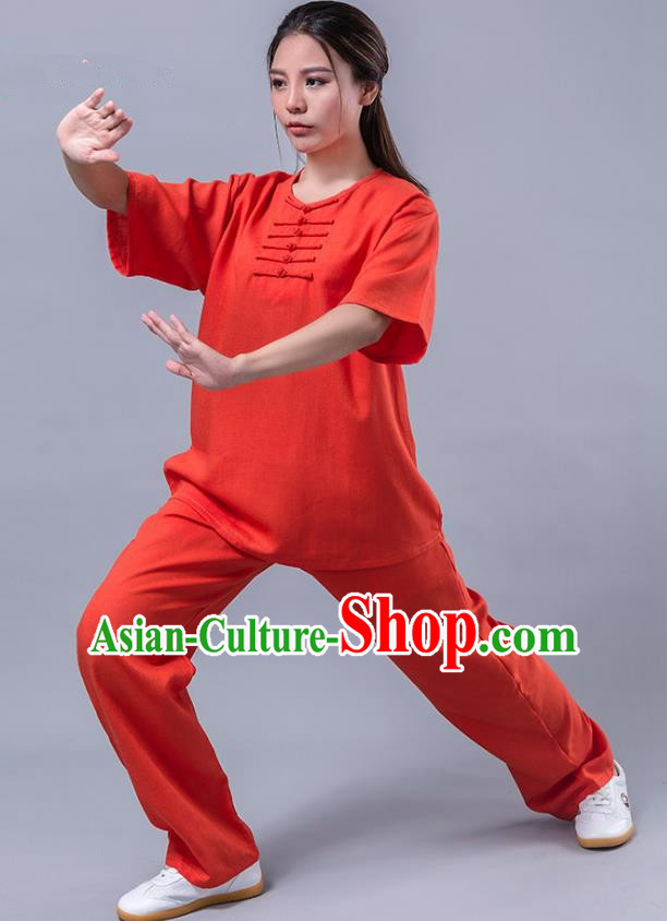 Top Grade Chinese Kung Fu Costume Martial Arts Red Uniform, China Tai Ji Wushu Plated Buttons Clothing for Women