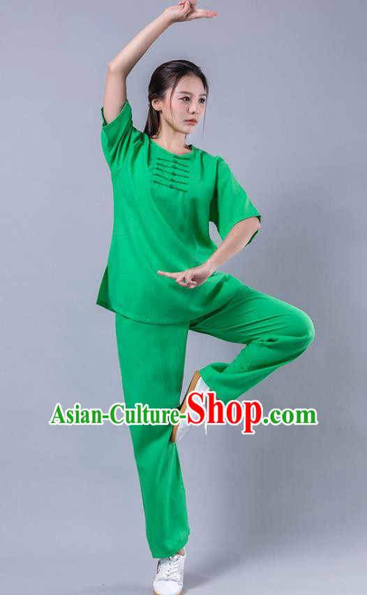 Top Grade Chinese Kung Fu Costume Martial Arts Green Uniform, China Tai Ji Wushu Plated Buttons Clothing for Women