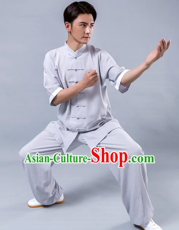 Top Grade Chinese Kung Fu Costume Tai Ji Training Grey Linen Uniform, China Martial Arts Tang Suit Gongfu Clothing for Men
