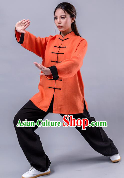 Top Grade Chinese Kung Fu Costume Martial Arts Orange Uniform, China Tai Ji Wushu Plated Buttons Clothing for Women