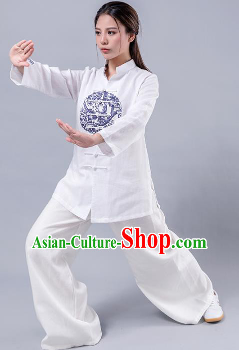 Top Grade Chinese Kung Fu Costume Martial Arts Printing Uniform, China Tai Ji Wushu Plated Buttons Clothing for Women