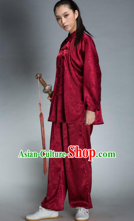 Top Grade Chinese Kung Fu Plated Buttons Wine Red Costume, China Martial Arts Uniform Tai Ji Wushu Clothing for Women