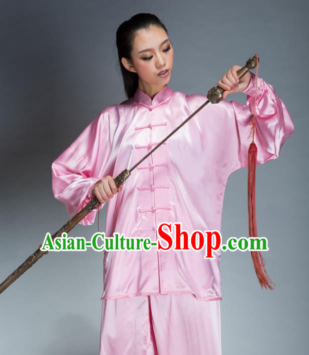 Top Grade Chinese Kung Fu Plated Buttons Pink Costume, China Martial Arts Uniform Tai Ji Wushu Clothing for Women