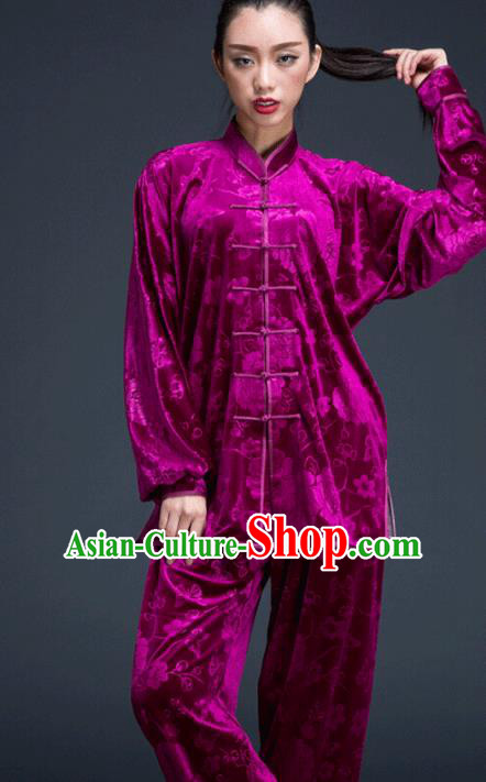 Top Grade Chinese Kung Fu Plated Buttons Costume Purple Pleuche Martial Arts Uniform, China Tai Ji Wushu Clothing for Women