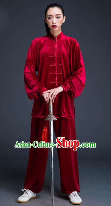 Top Grade Chinese Kung Fu Plated Buttons Costume Red Pleuche Martial Arts Uniform, China Tai Ji Wushu Clothing for Women