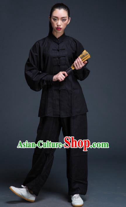 Top Grade Chinese Kung Fu Plated Buttons Costume Black Linen Martial Arts Uniform, China Tai Ji Wushu Clothing for Women