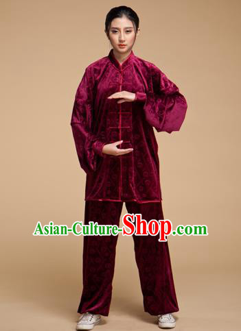 Top Grade Chinese Kung Fu Plated Buttons Costume Wine Red Pleuche Martial Arts Uniform, China Tai Ji Wushu Clothing for Women