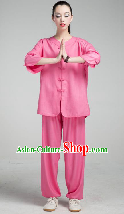 Top Grade Chinese Kung Fu Costume Martial Arts Deep Pink Uniform, China Tai Ji Wushu Clothing for Women