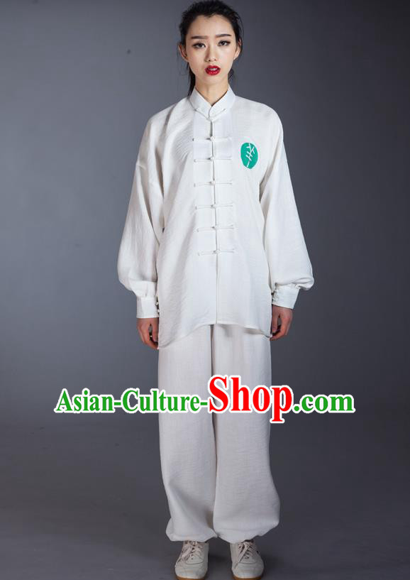 Top Grade Chinese Kung Fu Costume Martial Arts White Long Sleeve Uniform, China Tai Ji Wushu Clothing for Women