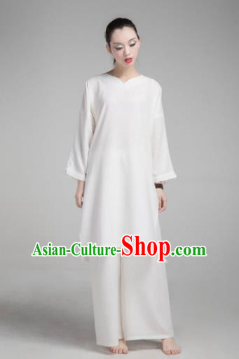 Top Grade Chinese Kung Fu Costume Martial Arts Uniform, China Tai Ji Wushu White Clothing for Women