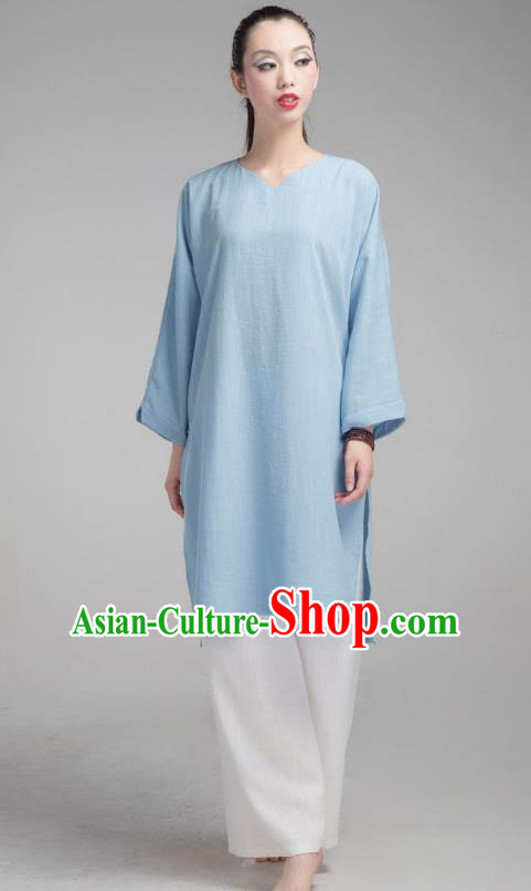 Top Grade Chinese Kung Fu Costume Martial Arts Uniform, China Tai Ji Wushu Blue Clothing for Women