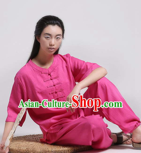 Top Grade Chinese Kung Fu Costume Martial Arts Rosy Uniform, China Tai Ji Wushu Plated Buttons Clothing for Women