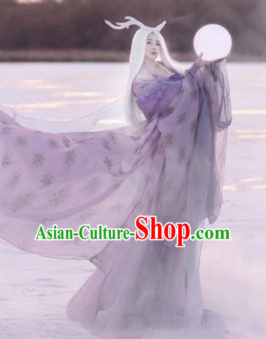 Asian Chinese Ancient Dragon Fairy Costume Traditional Palace Lady Clothing and Headpiece Complete Set