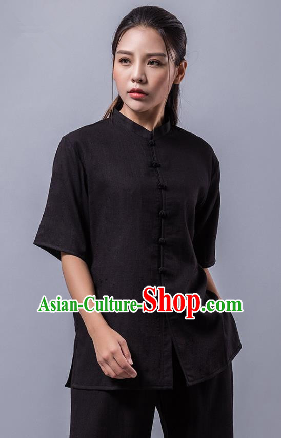 Top Grade Chinese Kung Fu Costume Martial Arts Black Uniform, China Tai Ji Wushu Clothing for Women