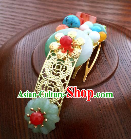 Traditional Handmade Chinese Ancient Classical Hair Accessories Hairpins Jade Hair Comb for Women