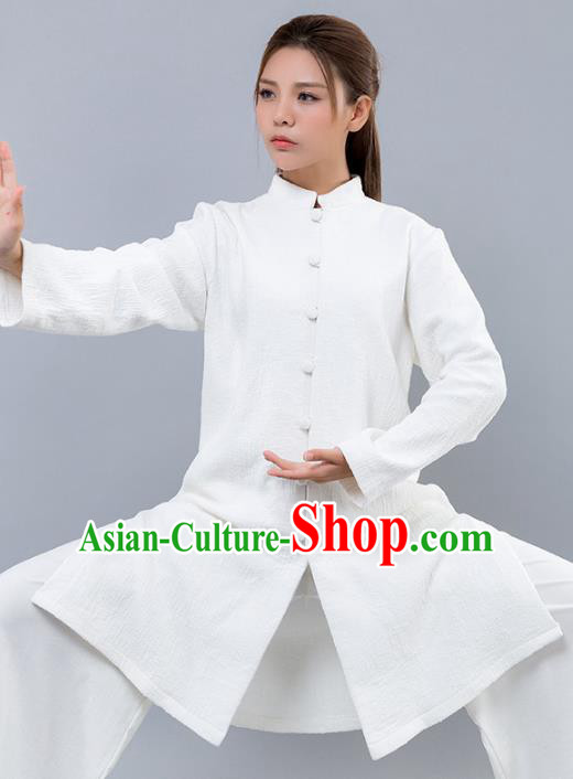 Top Grade Chinese Kung Fu White Costume Martial Arts Uniform, China Tai Ji Wushu Clothing for Women