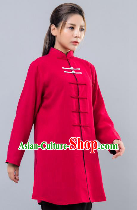 Top Grade Chinese Kung Fu Costume Martial Arts Red Uniform, China Tai Ji Wushu Clothing for Women