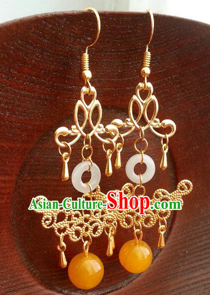 Traditional Handmade Chinese Ancient Princess Hanfu Golden Eardrop Accessories Classical Tassel Earrings for Women