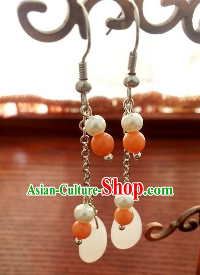 Traditional Handmade Chinese Ancient Princess Hanfu Eardrop Accessories Classical Shell Earrings for Women