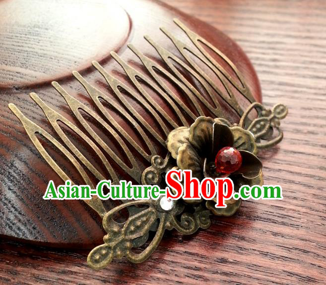 Traditional Handmade Chinese Ancient Classical Wedding Hair Accessories Hairpins Bronze Hair Comb for Women