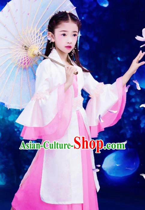 Chinese Ancient Children Princess Embroidered Costume, China Tang Dynasty Fairy Clothing for Kids