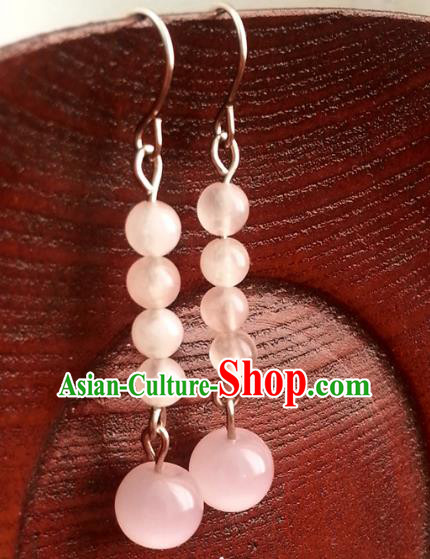 Traditional Chinese Handmade Pink Beads Eardrop Ancient Palace Lady Princess Hanfu Classical Earrings for Women
