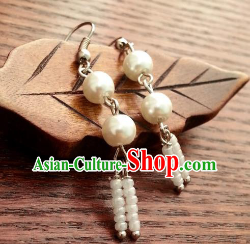 Traditional Chinese Handmade Ancient Princess Hanfu Pearls Eardrop Classical Palace Lady Earrings for Women
