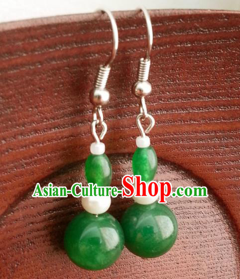 Traditional Chinese Handmade Classical Hanfu Eardrop Ancient Palace Queen Jade Green Earrings for Women