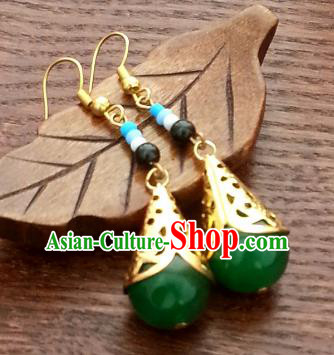 Traditional Chinese Handmade Classical Hanfu Eardrop Ancient Palace Queen Green Beads Earrings for Women