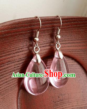 Traditional Chinese Handmade Classical Hanfu Pink Eardrop Ancient Palace Princess Earrings for Women