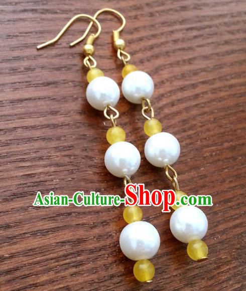 Traditional Chinese Handmade Classical Hanfu Beads Eardrop Ancient Palace Princess Earrings for Women