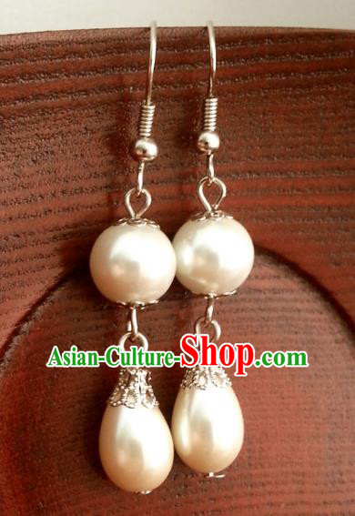 Traditional Chinese Handmade Classical Hanfu Pearls Eardrop Ancient Palace Princess Earrings for Women