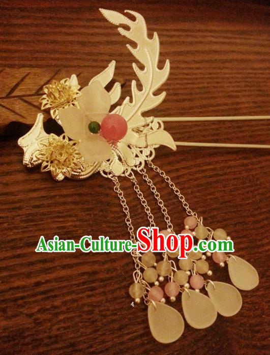 Handmade Traditional Chinese Classical Phoenix Hair Accessories Ancient Hanfu Tassel Hairpins Hair Fascinators for Women