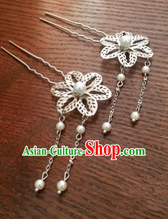 Handmade Traditional Chinese Classical Hair Accessories Flower Tassel Step Shake Ancient Hanfu Hairpins for Women