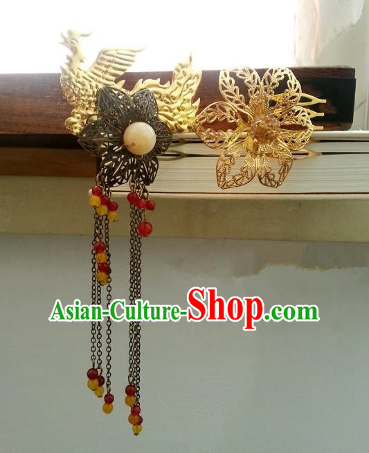 Handmade Traditional Chinese Classical Hair Accessories Ancient Hanfu Golden Tassel Phoenix Hairpins for Women