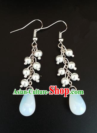 Asian Chinese Traditional Handmade Jewelry Accessories Opal Eardrop Hanfu Classical Earrings for Women