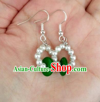 Asian Chinese Traditional Handmade Jewelry Accessories Princess Beads Eardrop Hanfu Classical Earrings for Women