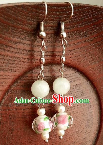 Asian Chinese Traditional Handmade Classical Hanfu Eardrop Ancient Palace Princess Earrings for Women