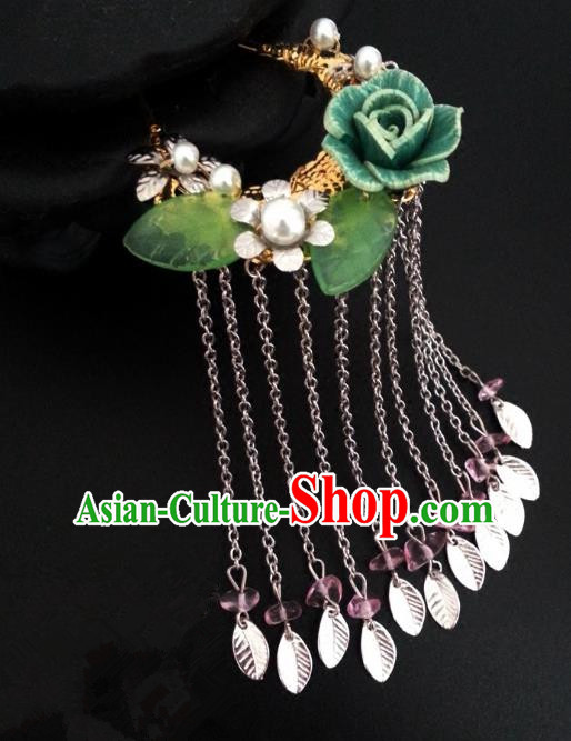 Handmade Traditional Chinese Classical Hair Accessories Ancient Bride Hanfu Hairpins Green Flowers Step Shake for Women