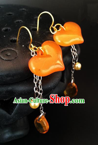 Asian Chinese Traditional Handmade Hanfu Classical Resin Eardrop Ancient Palace Princess Earrings for Women