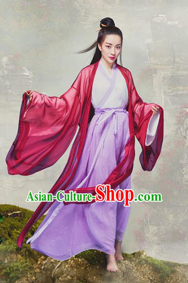 Traditional Chinese Ancient Ming Dynasty Swordswoman Chivalrous Women Clothing and Headpiece Complete Set