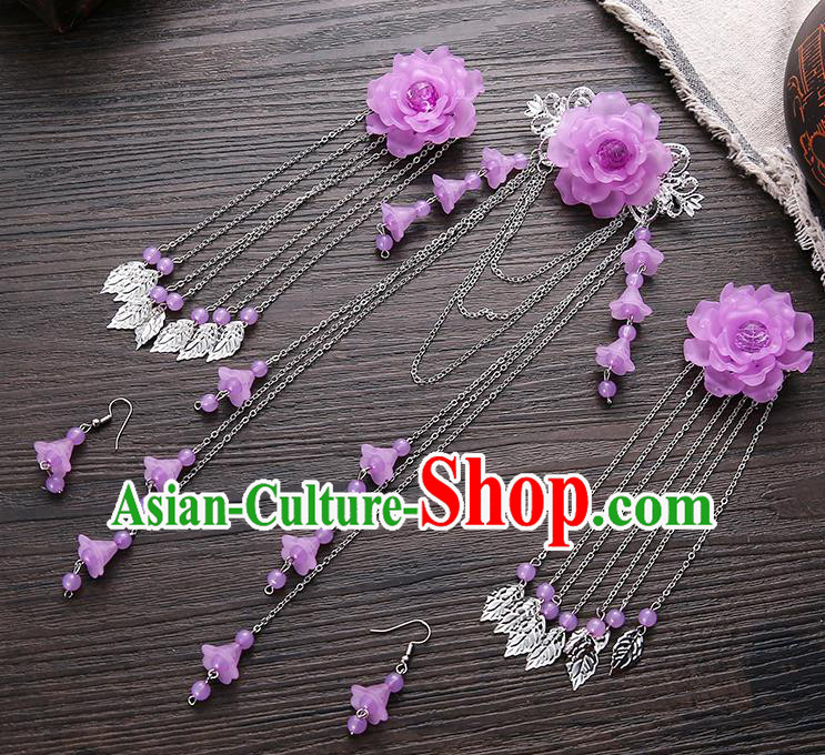 Handmade Asian Chinese Classical Hair Accessories Ancient Purple Flower Hair Stick Hairpins for Women