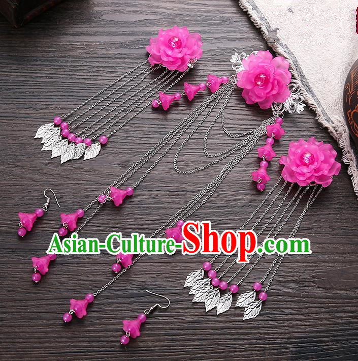 Handmade Asian Chinese Classical Hair Accessories Ancient Rosy Flower Hair Stick Hairpins for Women