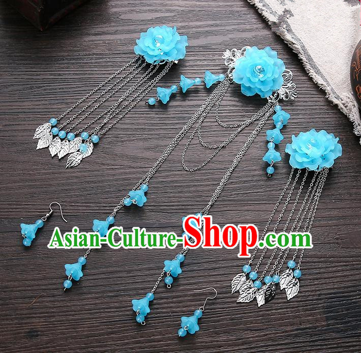 Handmade Asian Chinese Classical Hair Accessories Ancient Blue Flower Hair Stick Hairpins for Women