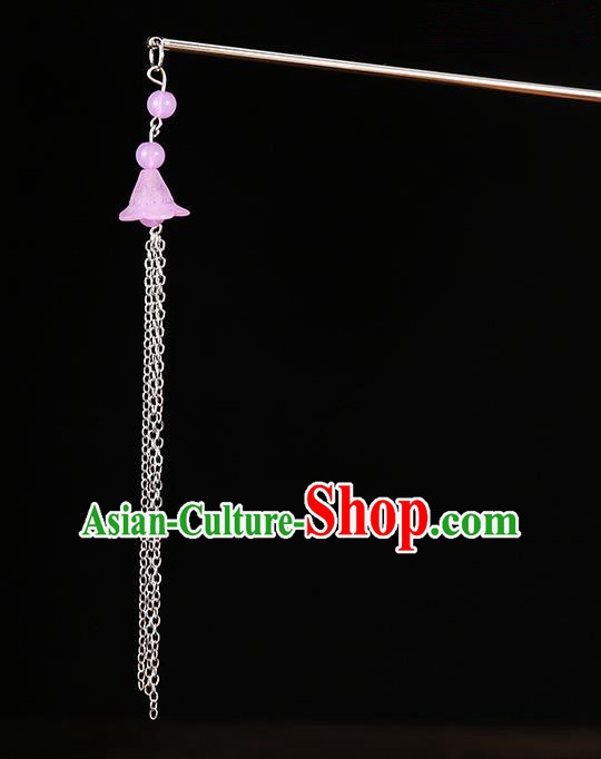Handmade Asian Chinese Classical Hair Accessories Ancient Pink Tassel Step Shake Hairpins for Women