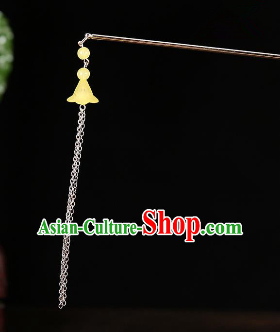 Handmade Asian Chinese Classical Hair Accessories Ancient Yellow Tassel Step Shake Hairpins for Women