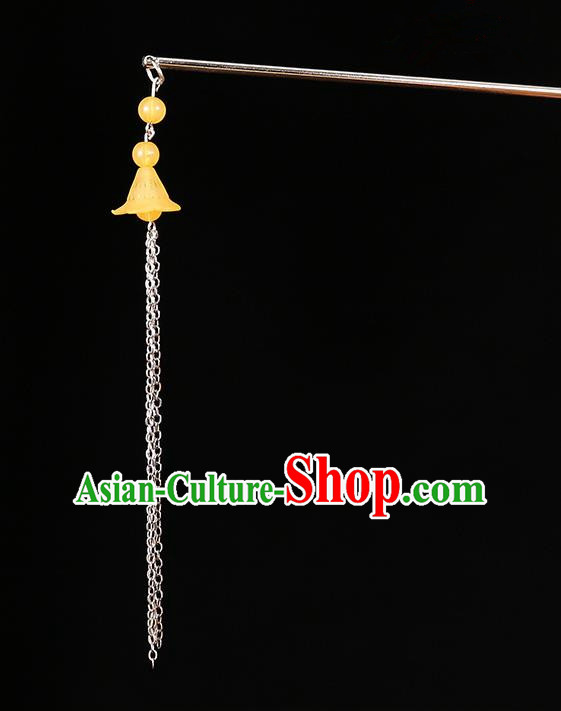 Handmade Asian Chinese Classical Hair Accessories Ancient Orange Tassel Step Shake Hairpins for Women