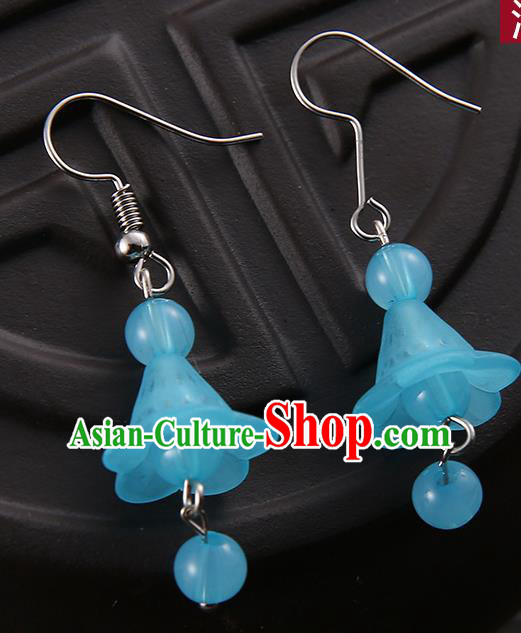 Asian Chinese Traditional Handmade Jewelry Accessories Hanfu Classical Blue Earrings for Women